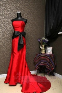 $21.8 red dress with black bow for wedding from zzkko.com...bridesmaids