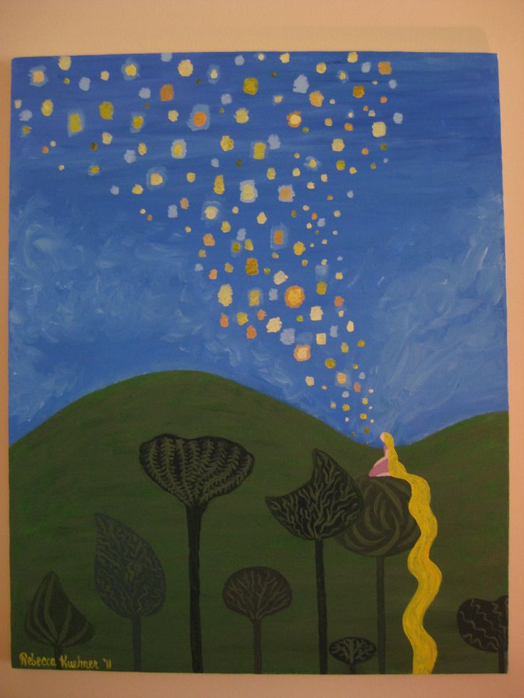 """""""I've got a dream! I've got a dream! I just want to see the floating lanterns gleam."""" I want to paint this on a wall panel in my bedroom when I have my own house. Seriously. // Tangled Floating Lanterns Painting. """"And at last I see the light, and it's like a fog is lifted..."""""""