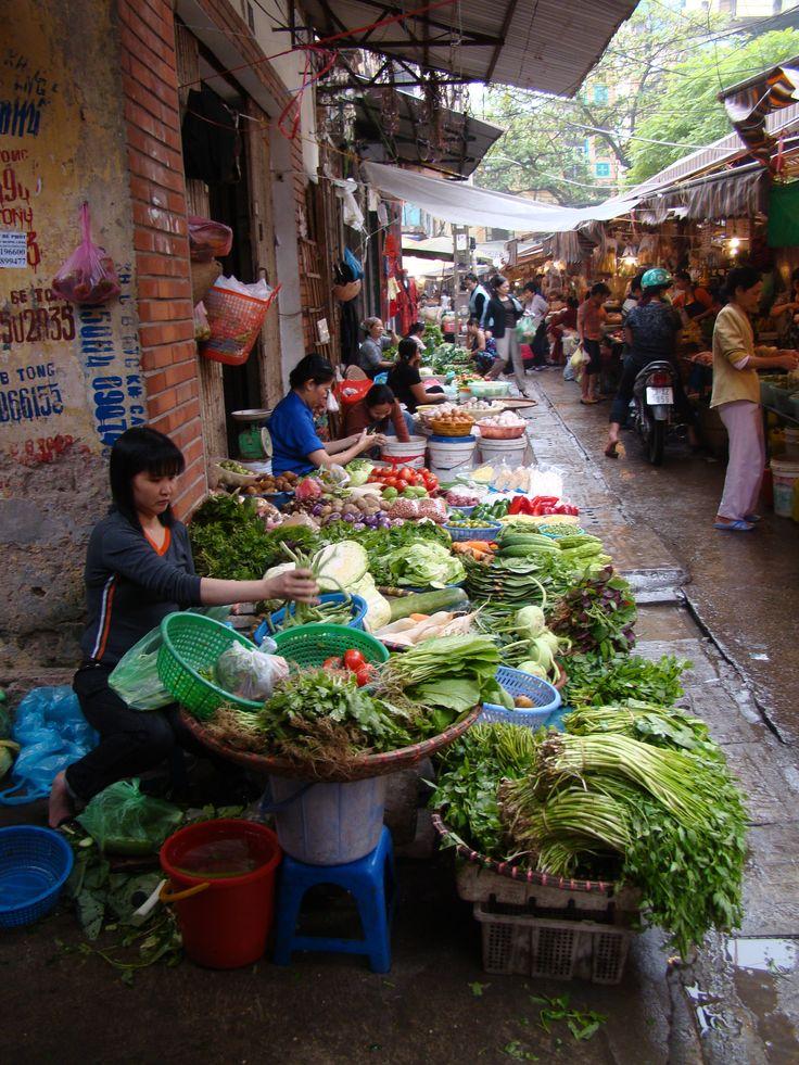 Vegetable sellers in an open air market in Hanoi, Vietnam.