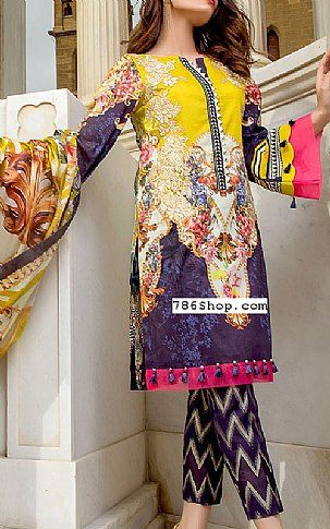 1c8307c6d0 Indigo/Yellow Lawn Suit   Buy Firdous Pakistani Dresses and Clothing online  in USA, UK