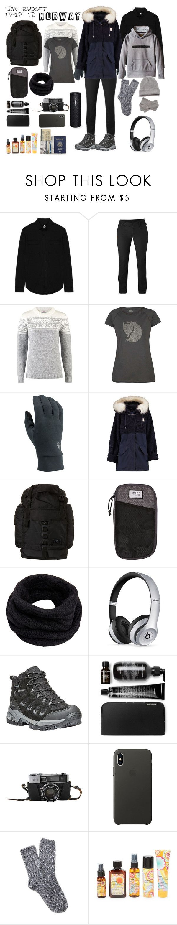 """""""low budget NORWAY"""" by deadbeat-horn on Polyvore featuring Burton, Fjällräven, adidas Originals, Helmut Lang, Beats by Dr. Dre, Propét, Apple, Free Press and amika"""