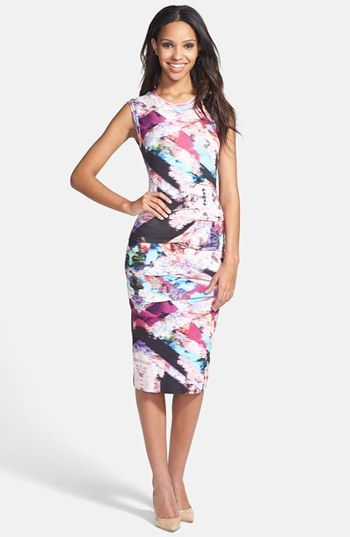 Nicole Miller Tidal Pleat Print Jersey Pencil Dress available at #Nordstrom