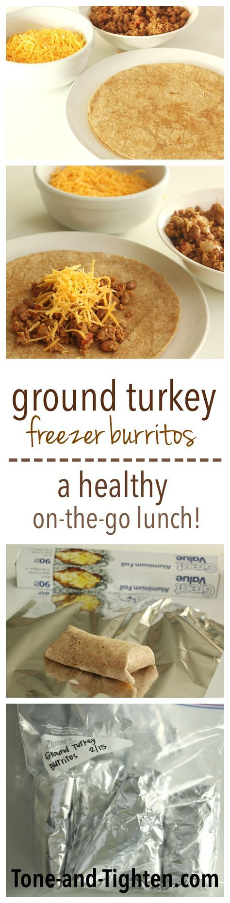 Ground Turkey Freezer Burritos on Tone-and-Tighten.com - a healthy on-the-go lunch or dinner idea!