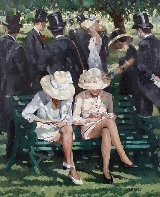 Sherree Valentine-Daines (British, born 1956) - Women on a bench (Oil on board) - - Nők a padon - Valentine-Daines technikailag ragyogó stilisztikai virtuóz és végtelenül éber. A festőművész a brit élet izgalmas elemeit keresi, figyeli meg, amelyek többnyire a társadalmi örvény eleganciájából erednek. Ezeknek a megfigyelésének a hitelességét és pontosságát néha gyengíti az impresszionista festői megközelítés. (Németh György)