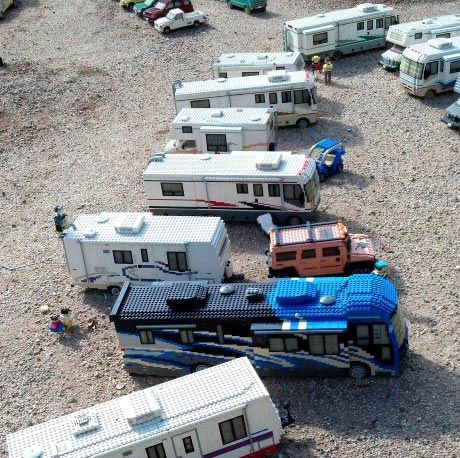 LEGO campers lined up