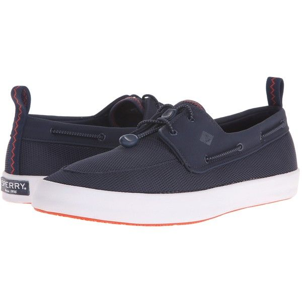 Sperry Top-Sider Flex Deck Boat (Navy) Men's Lace up casual Shoes ($43) ❤ liked on Polyvore featuring men's fashion, men's shoes, men's loafers, navy, mens breathable shoes, mens deck shoes, mens navy shoes, sperry top sider mens shoes and mens beach shoes
