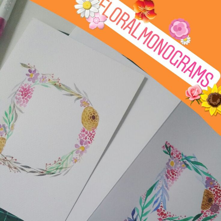 Floral monograms - can be customised to your fave flowers and colours 🌸🌹🌼🌻🌺