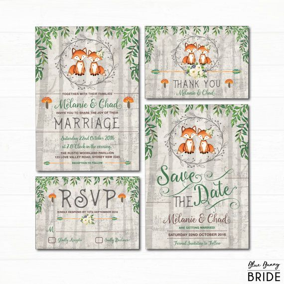 Woodland Fox Wedding Invitation Set. Rustic Forest Watercolor Leaves Invite. Romantic Fox Couple. Save the Date. RSVP. Thank You Card.
