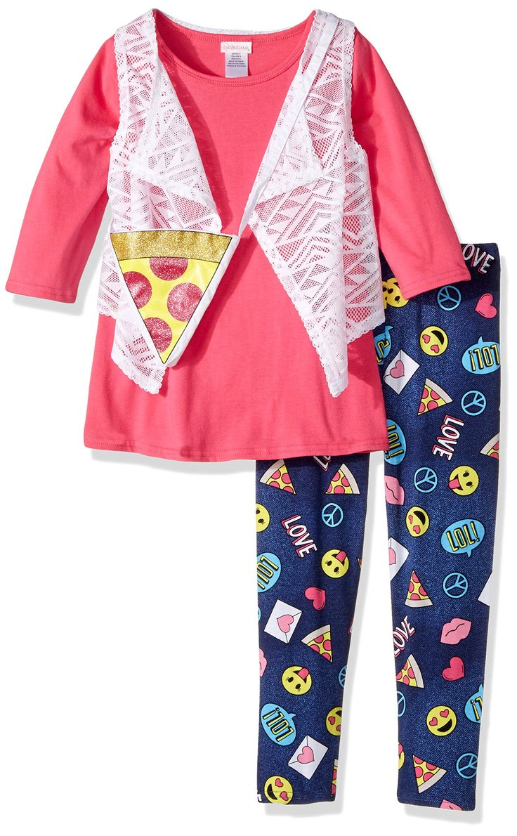 Youngland Little Girls' Top, Legging, Vest and Accessory 3-Piece Outfit, Pink, 6. Removable pizza emoji purse. Emoji printed legging. Popover closure. Crochet lace vest.