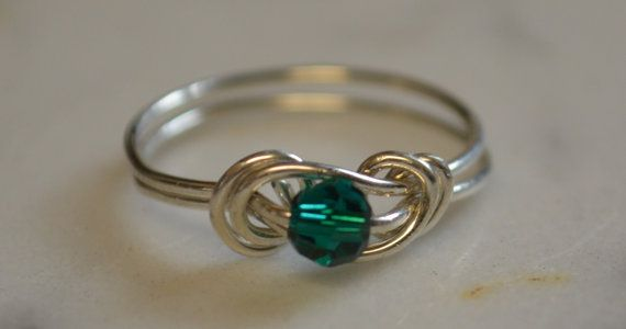Emerald love knot ring sterling silver wire handmade with Swarovski crystal May birthstone Jewelry made to order