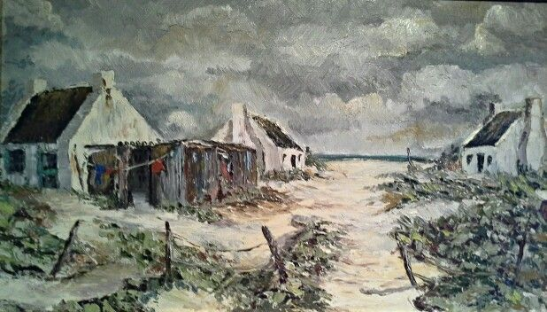Fisherman's cottages by PL Rudolph (my brother) uploaded by Martie van Niekerk. Oil on board