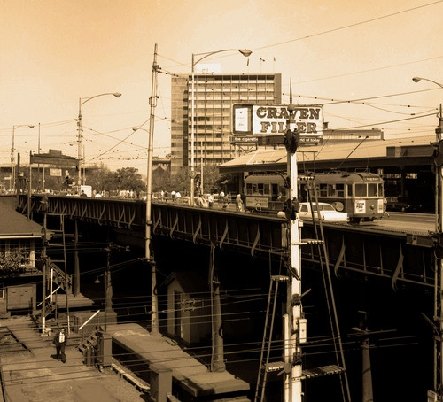 Princes Bridge from Flinders Street (1969). Federation Square was built over these railyards