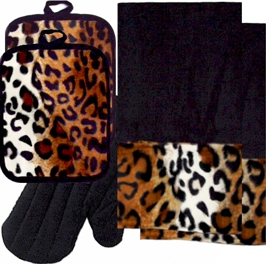 AnythingAnimals.com  Animals Bordering Africa Animal Print Kitchen Linen Set Black/Leopard $35