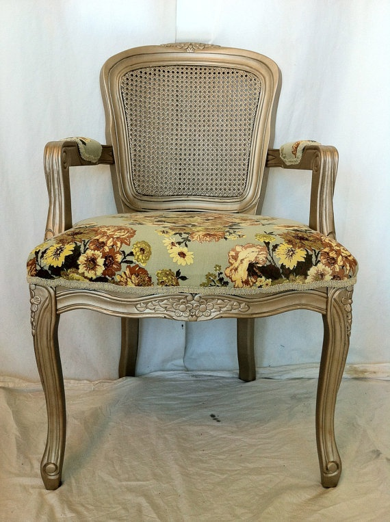 Vintage floral upholstered french accent arm chair by lemonaider 419