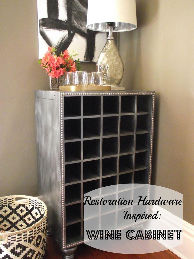 Diy restoration hardware inspired wine cabinet with zinc finish diy decorating pinterest - Restoration hardware cabinets ...