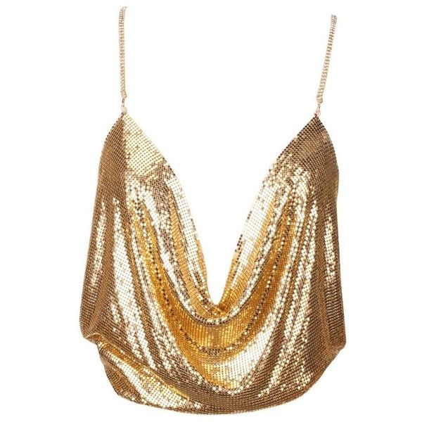 Nina Gold Metal Top (€93) ❤ liked on Polyvore featuring tops, crop top, tank tops, cut-out crop tops, white crop top and white top