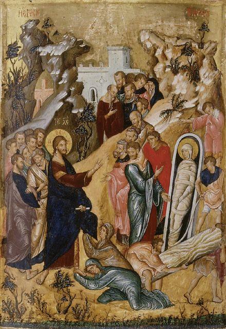Byzantine (14th/15th century), Icon of 'The Raising of Lazarus' (WA1915.13)