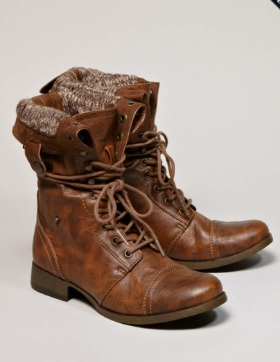 Lace up boots. Awesome for fall with skinny jeans and a slouchy sweater!