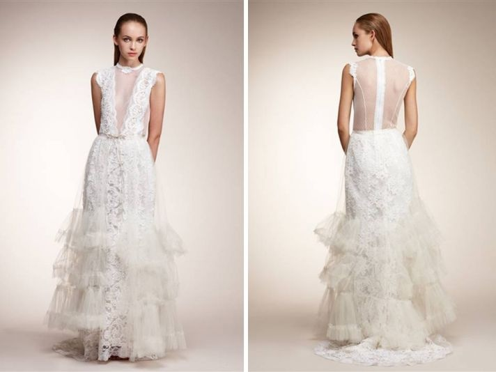 Romantic all-lace ivory couture wedding dress by Pat Kerr