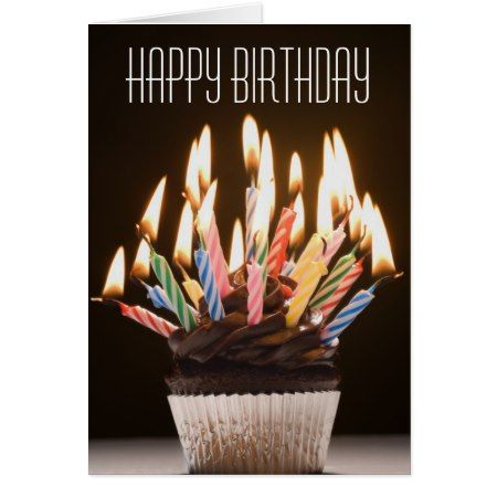 Cupcake with Birthday Candles Birthday Card - click to get yours right now!