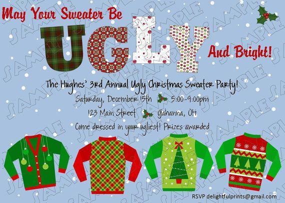 71 best ugly christmas sweater/cookie exchange party images on, Party invitations