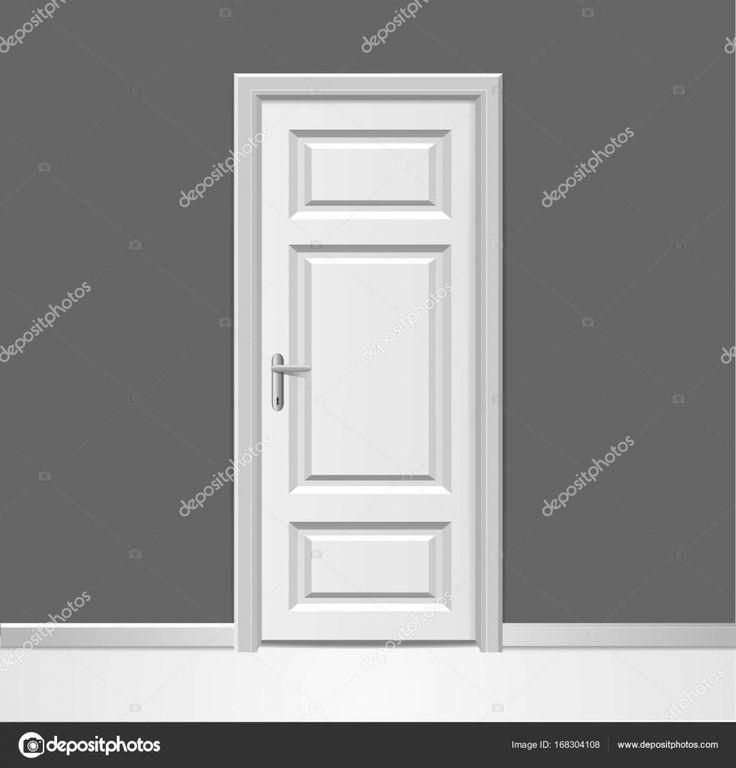 Simple Realistiska d st ngt vit tr d rr med ram till v gg interi r koncept Vektor u Stockillustration