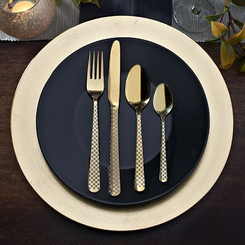 4 x Table forks (208mm) 4 x Table knives (230mm) 4 x Dessert spoons (185mm) 4 x Tea spoons (148mm)  Viners High Fashion Eminence Gold 18/10 Stainless Steel Cutlery - with over a century of cutlery manufacturing experience, Viners is highly distinguished, trusted and much loved cutlery brand, steeped in British Heritage. Viners origins date back to Sheffield in the early 1900s, since then Viners have maintained a tradition which combines best in class materials and cutting edge technologi...