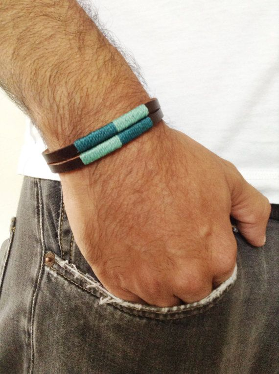 Men's bracelet, Unisex leather cuff, Bohemian Handmade Brown Leather Wristband, Wax cord, Men's leather color bracelet