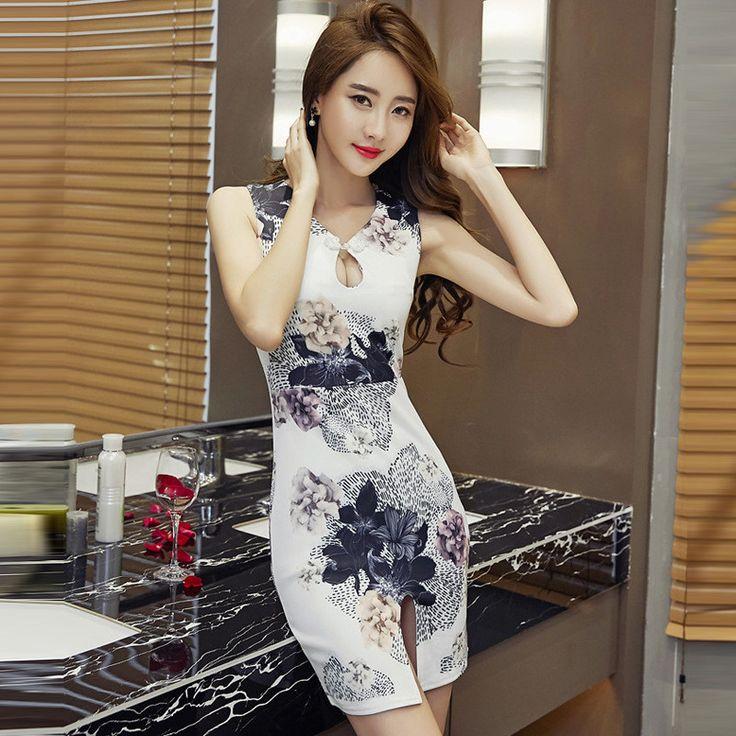 Women Sexy Printed Cheongsam Bodycon Slim Slip Sleeveless Nightclub Mini Dress