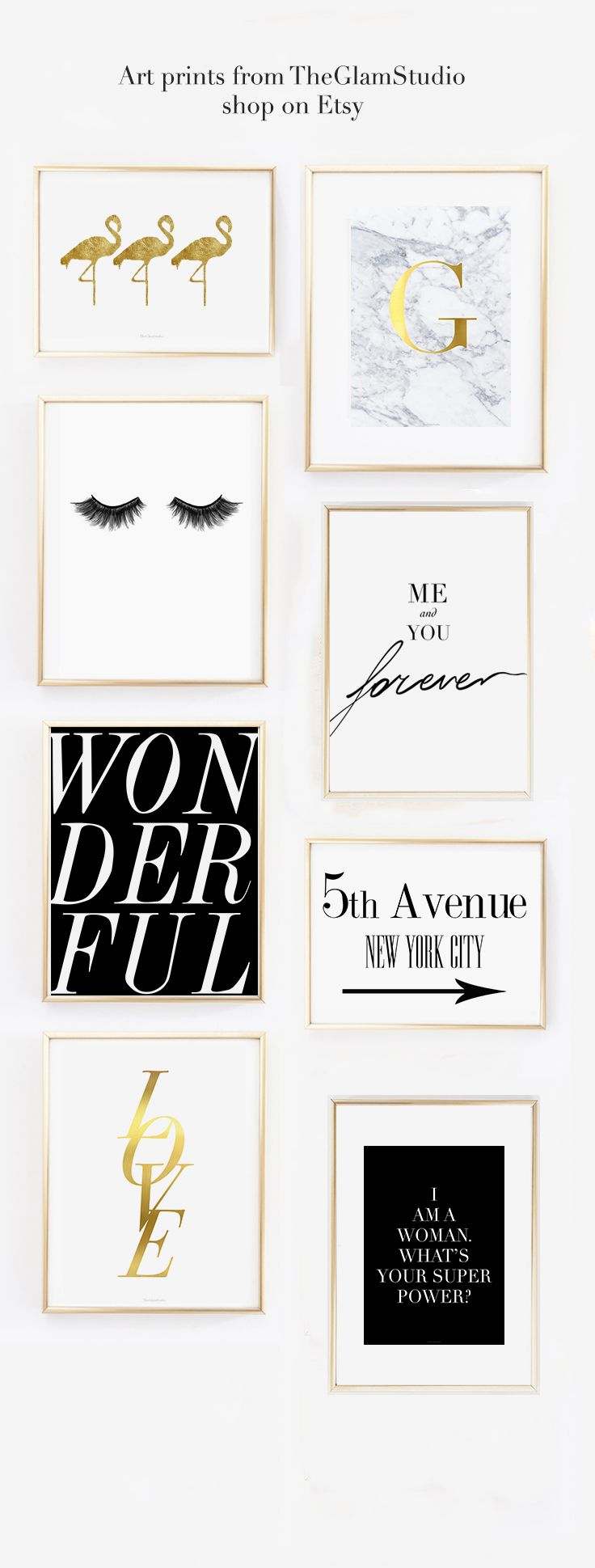 Cute wall gallery idea for the home office decorated with pretty fashion art prints