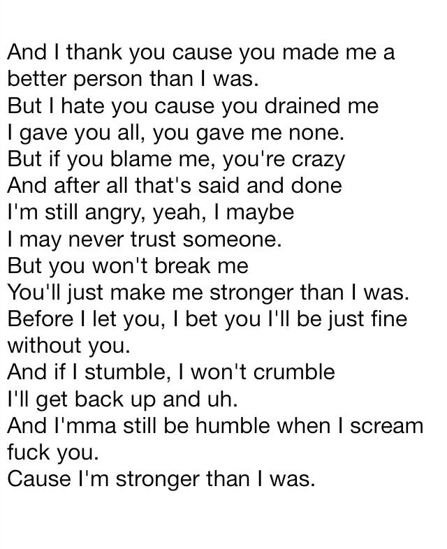 Eminem: Stronger Than I Was. Tribute to my ex husband.