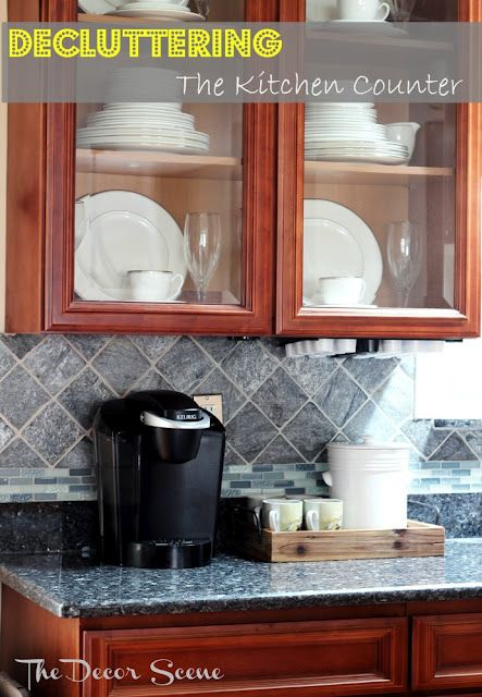 decluttering the kitchen counter- The Decor Scene good idea for my little counter space