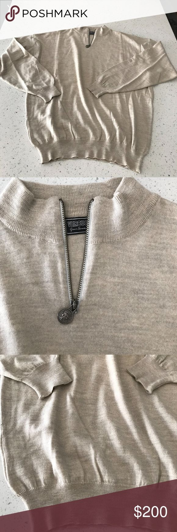 """Men's Versace """"versus"""" cardigan color """"sand"""" with logo Versace zipper on neck , the cardigan has no stain , size 40 (please see measures) 100% virgin wool , hologram inside for proof authenticity , shoulder 24"""", under arms 23"""" , sleeves 22"""", length 27.5"""" Versace Sweaters Cardigan"""