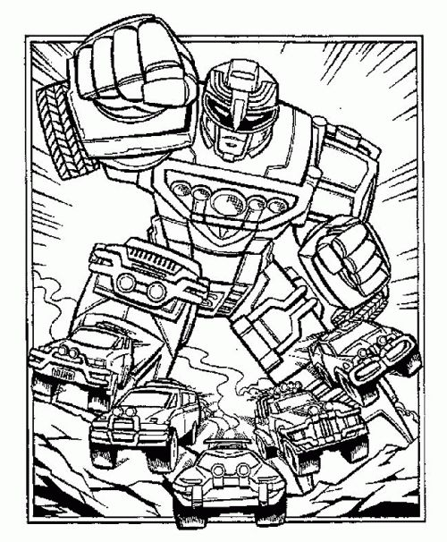 Fuchsia Coloring Page For Kids: Robot Power Rangers Turbo Coloring Page