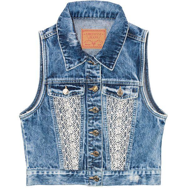 Amethyst Jeans Medium Wash Elin Denim Vest ($20) ❤ liked on Polyvore featuring plus size women's fashion, plus size clothing, plus size outerwear, plus size vests, plus size, vest waistcoat, crochet vests, womens plus size vests, blue vest and crochet waistcoat