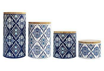 The blue-and-white patterns of this ceramic canister set will give your kitchen bright, modern appeal.