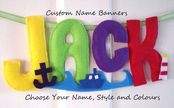 Name Banner Custom Baby Name Nursery Decor Boy Girl by FeltTails