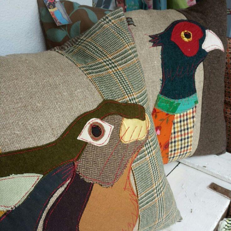 Tweed & wool applique cushions. Carola Van Dyke. £85