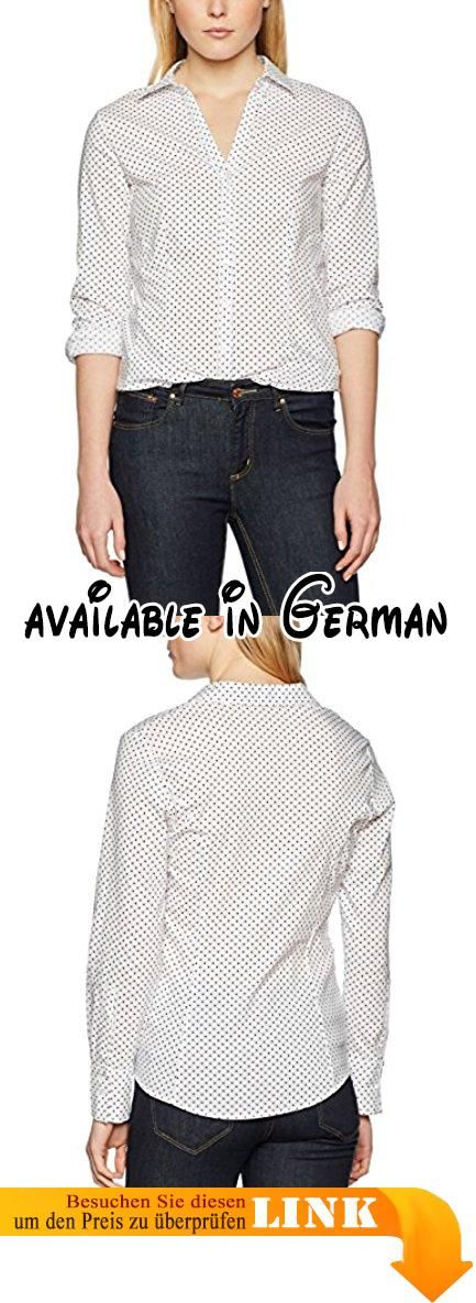 More & More Damen Bluse Mehrfarbig (Multicoloured (White 2 Colour) 2010), 46. super angenehme Baumwoll-Mischung mit kleinem Stretchanteil, feminin-taillierte Form, offener Hemdblusenkragen, geknöpfte Manchetten. tolle Officebluse zum Hosenanzug, kann aber auch lässig zur Jeans gestylt werden, weiß/schwarz getupft, Länge in Gr. 36 = 66 cm #Apparel #SHIRT