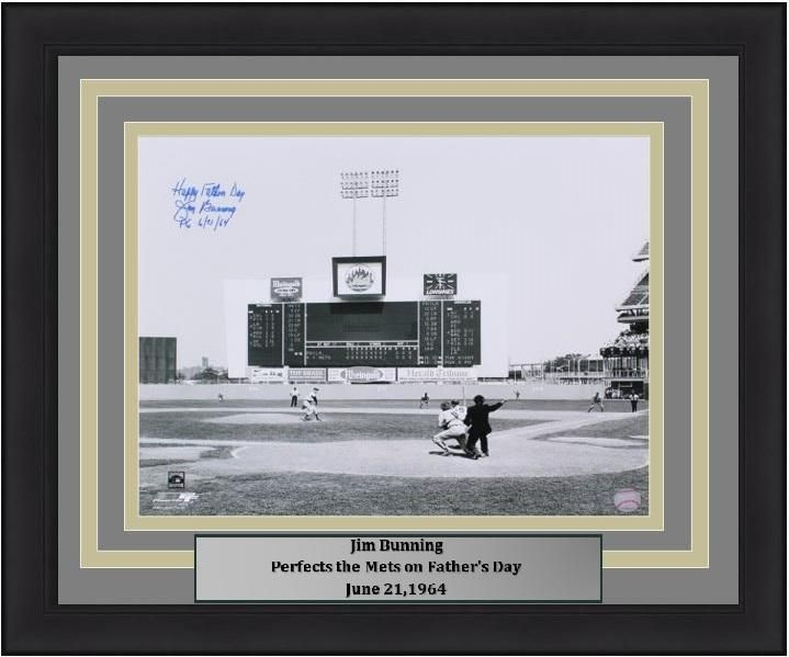 """Philadelphia Phillies Jim Bunning Father's Day Perfect Game Autographed MLB Baseball Horizontal 16"""" x 20"""" Framed and Matted Photo with """"Happy Father's Day 6/21/64"""" Inscription"""