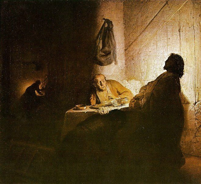 Christ at Emmaus, 1628. Two disciples realizing they are speaking to Christ.  One falls on his knees, the other one recoils.