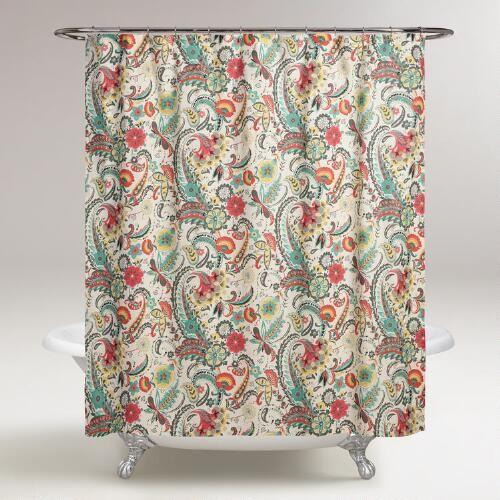 One of my favorite discoveries at WorldMarket.com: Paisley Floral Kadiri Shower Curtain