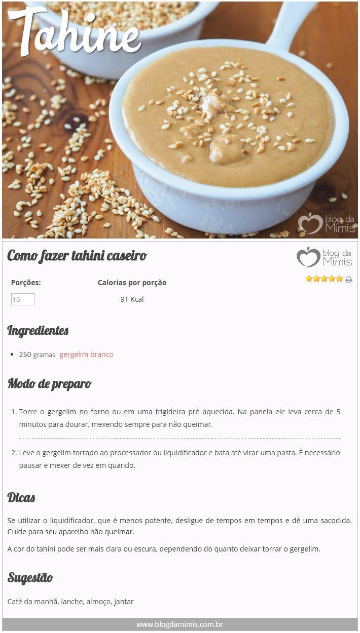 Como fazer tahini caseiro - Blog da Mimis #tahini #receita #emagrecer #saudável #gergelim