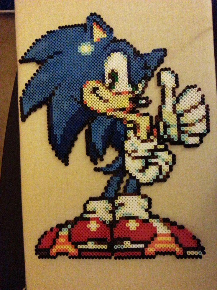 Sonic The Hedgehog Perler Beads by BusyBeadsOhio
