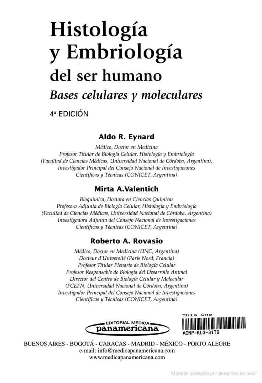 Histología y embriología del ser humano