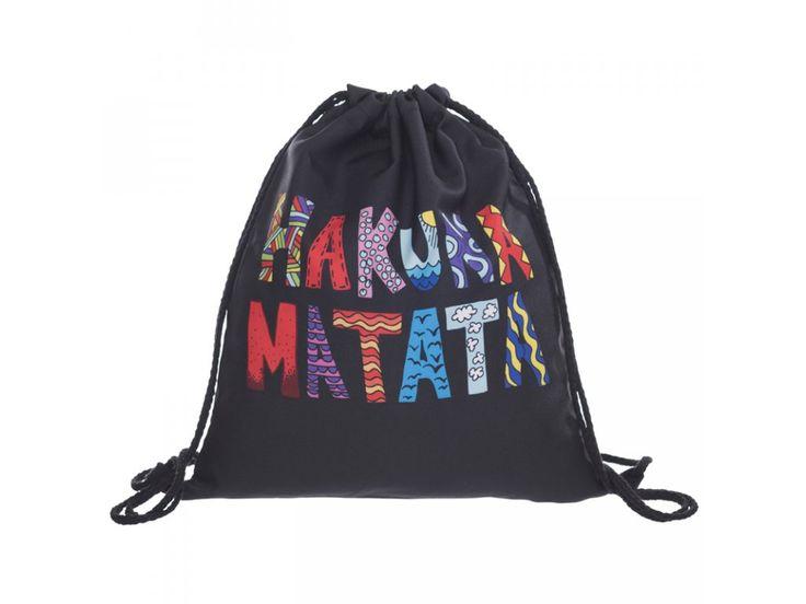 Vak na záda Gymsack s potiskem - Hakuna Matata Black