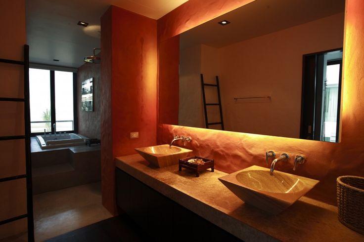 Simplicity in autumn tones for Tropical themed bathroom ideas