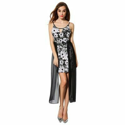 Hollow Out Spaghetti Strap Bodycon Floral Patchwork Dress As Photo | pinknee.com