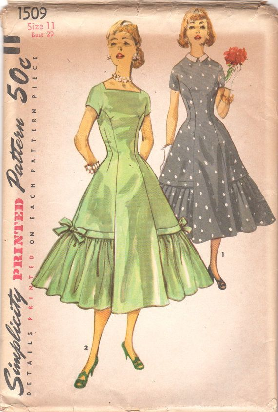 Simplicity 1509 1950s Party Dress Pattern Princess Seam Kimono Sleeve Flared Flounce womens vintage sewing pattern by mbchills