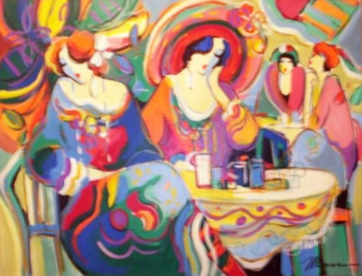 """Original Painting """"Untitled Cafe Women"""" by Isaac Maimon"""